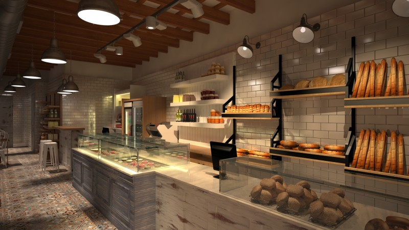 Dise o 3d de pastelerias panaderias y restaurantes for Diseno de interiores cafeterias pequenas
